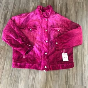 Free people Velvet Trucker Oversized Jacket Pink